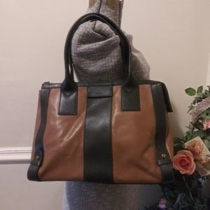 Like New Fossil Brown/Black Leather Satchel Purse